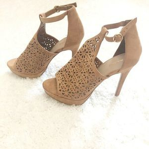 Aldo Tan Floral Cut Out High Heels Ankle Strap